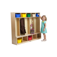 ECR4KIDS ELR-0453 Birch 5-Section Coat Locker with Bench