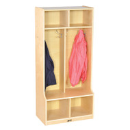 ECR4KIDS ELR-17231 Birch 2-Section Birch Coat Locker with Bench
