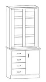 Hann SC-137G Laboratory Display Cabinet With Four Drawers And Cupboard 36 Inch Wide