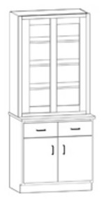 Hann SC-132G Laboratory Display Cabinet With Two Drawers And Cupboard With Two Doors 36 Inch Wide