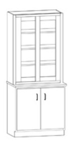 Hann SC-131G Laboratory Display Cabinet With Lower Cupboard 36 Inch Wide