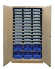 Hann TT-482284-36T6C Storage Cabinet With 36 Tote Trays and 6 Tote Caddies 22 x 48