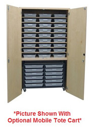 Hann TTG-482284-27T Storage Cabinet With 27 Tote Trays and Lower Garage Cabinet 22 x 48
