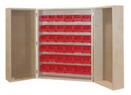 Hann PC-936 Wall Mounted Bin Storage Cabinet With 36 Bins and Pegboard Panels 12 x 28