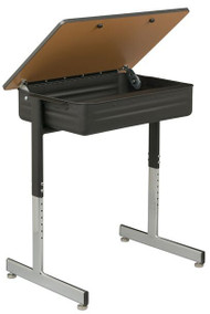 Capitol Seating 302 Aptitude Solid Plastic Lift Lid Adjustable Desk with Book Box