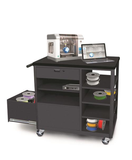 MVG3624BKBK-1 Steel 3D Printer Cart with Storage Drawer Four Side Shelves