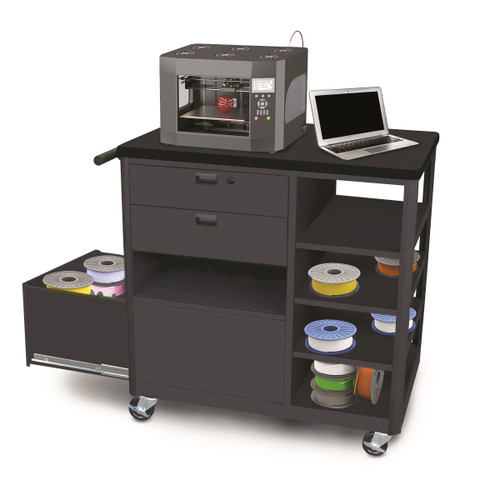 MVG3624BKBK-2 Steel 3D Printer Cart with Two Storage Drawers and Four Side Shelves