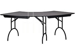 MTS Seating 415-3060CR-AL Continuity Arched Leg Crescent Shaped Folding Table 41 x 87
