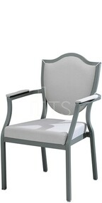 MTS Seating 95/1A Salon Nesting Dining Side Arm Chair With Traditional Shield Back 18 Inch Seat Height