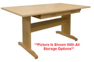 Hann A2-4272M-36 Hard Maple Top Art Table With Storage 42 x 72