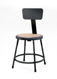National Public Seating 6218B-10 Black Round Hardboard Seat Stool with Backrest