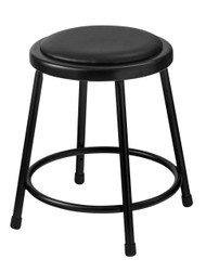 6418-10 Round Stool with Black Padded Seat 18 Inch