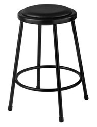 National Public Seating 6424-10 Round Stool with Black Padded Seat 24 Inch
