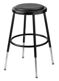National Public Seating 6418H-10 Adjustable Round Stool with Black Padded Seat 19 to 27 Inch