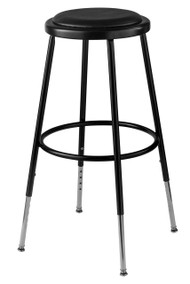 6424H-10 Adjustable Round Stool with Black Padded Seat 25 to 33 Inch