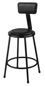 National Public Seating 6424B-10 Round Stool with Black Padded Seat and Backrest 24 Inch