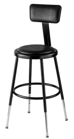 6418HB-10 Adjustable Round Stool with Black Padded Seat and Backrest 19 to 27 Inch