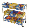CC005-9-WBY Multi-Purpose Cart with 5 Blue and 4 Yellow Open Tubs