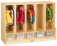 Jonti-Craft 66850JC Toddler Coat Locker with Step 5 Sections with Clear Trays