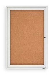 Ghent PA13624K Enclosed Single Door Tackboard Aluminum Frame