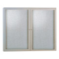 Enclosed Satin Aluminum Two Door Fabric Tackboard Ghent PA24860F