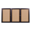 Enclosed Bronze Aluminum Three Door Fabric Tackboard Ghent PB34896F