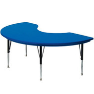 AR4872-KID Heavy Duty Plastic Top Kidney Shape Activity Table 48 W x 72 L Adjustable Height