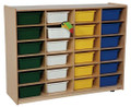 Wood Designs 24 Large Tray Storage Unit with Assorted Trays WD46003