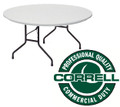 Correll R60 Blow Molded Plastic Folding Table Fixed Height 60 Round