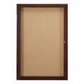 Ghent PN12418K One Door Walnut Enclosed Natural Cork Board