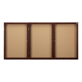 Ghent PN33672K Three Door Walnut Enclosed Natural Cork Board