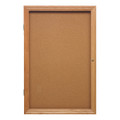Ghent PW12418K One Door Oak Enclosed Natural Cork Board