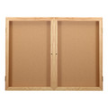 Ghent PW24860K Two Door Oak Enclosed Natural Cork Board