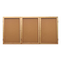 Ghent PW34872K Three Door Oak Enclosed Natural Cork Board