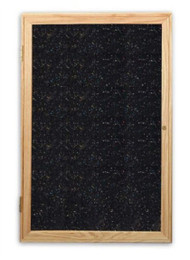 Ghent PW13630TR Enclosed Oak Finished One Door Recycled Rubber Tackboard