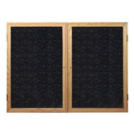 Ghent PW24860TR Enclosed Oak Finished Two Door Recycled Rubber Tackboard