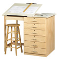 Shain DT-8A Drafting and Art Table with Drawers and Adjustable Top