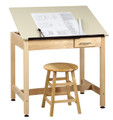 Shain DT-2A30 Drafting Table with Drawer and One Piece Adjustable Top