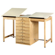 Shain DT-82A Two Station Drafting Table with Adjustable Tops and 8 Drawers