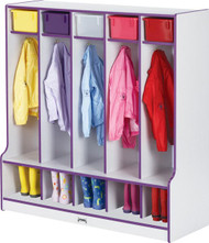 Jonti-Craft 0468JCWW Rainbow Accents Coat Lockers with Step and 5 Sections