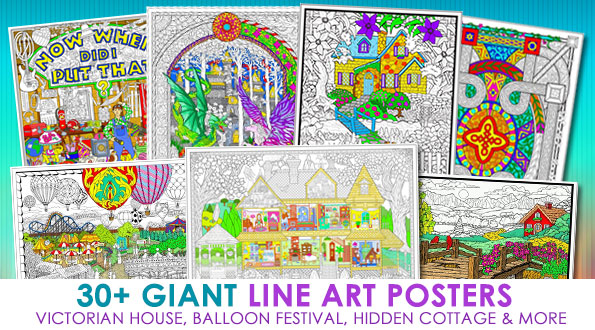 Line Art Posters : Fuzzy velvet posters to color giant line art