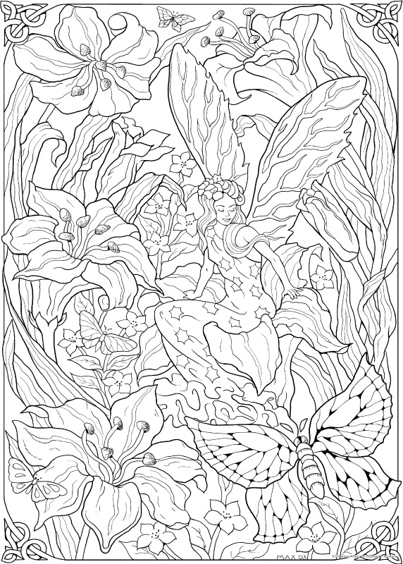 Flower fairy color by number stuff2color for Flower fairy coloring pages