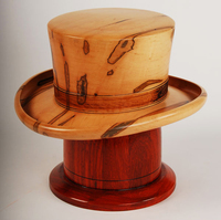 Derby Hat Cremation Urn made from solid hand turned maple wood