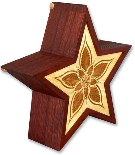 Star Wood Cremation Urn
