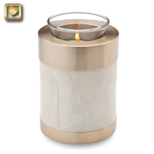 Tealight Brass Keepsake Cremation Urn in Pearl