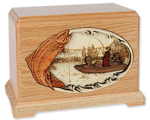 Trout Boat Fishing Inlay Art Cremation Urn