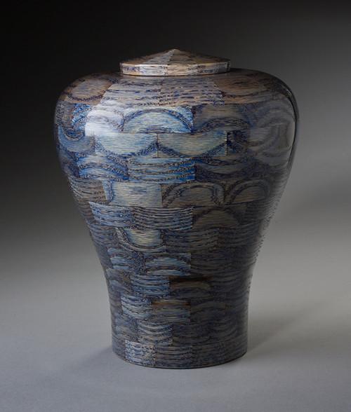 Blue Wood Cremation Urn