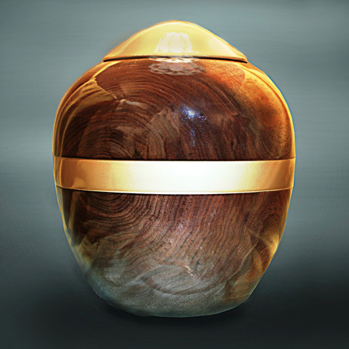 Hand Turned Dark Walnut Wood Urn
