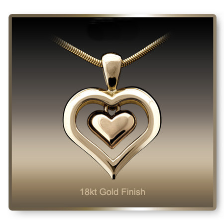 Eternity Heart Cremation Necklace - 18k Gold Finish