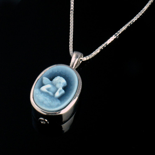 Angel Cameo Cremation Necklace in Sterling Silver